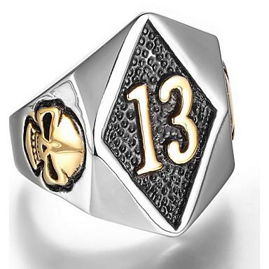 voordelige Herensieraden-Heren Ring Zegelring Zilver Gouden Titanium Staal Punk Leger Dagelijks Sieraden Schedel
