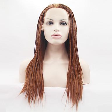 วิกผมสังเคราะห์ลูกไม้ด้านหน้า Straight Yaki ตรง Yaki มีลูกไม้ด้านหน้า ผมปลอม บลอนด์ ยาว นานมาก สีทองบลอนด์ สังเคราะห์ สำหรับผู้หญิง เส้นผมธรรมชาติ วิกผมถัก Braids แอฟริกัน บลอนด์