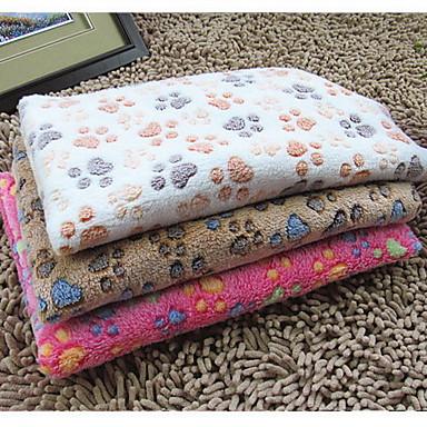 preiswerte Hundebetten & Decken-Katze Hund Matratzen Unterlage Reinigung Tuch Bettdecken Kord Haustiere Decken Abdruck / Paw Doppel-seitig Klappbar Rosa Rose Beige
