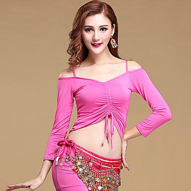 ชุดเต้นระบำหน้าท้อง เสื้อ สำหรับผู้หญิง การฝึกอบรม Modal แขนยาว Top