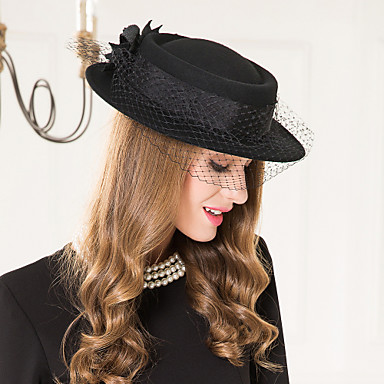 ขนสัตว์ / เครื่องจักรสาน / สุทธิ Kentucky Derby Hat / fascinators / หมวก กับ 1 งานแต่งงาน / โอกาสพิเศษ / ที่มา หูฟัง
