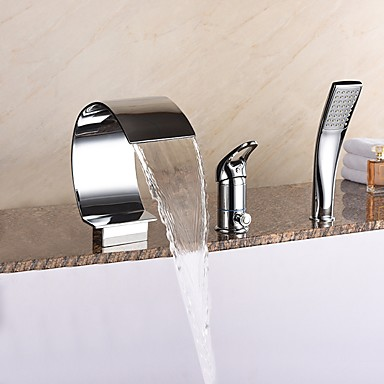 ก๊อกอ่างอาบน้ำ - ร่วมสมัย มีสี อ่างโรมัน Ceramic Valve Bath Shower Mixer Taps / Brass / จับเดี่ยวสามหลุม