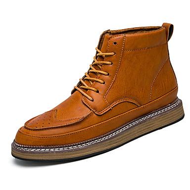 Hombre Zapatos Cuero Otoño / Invierno Confort / Botas de Combate Botas Negro / Gris / Marrón x2wzybFe