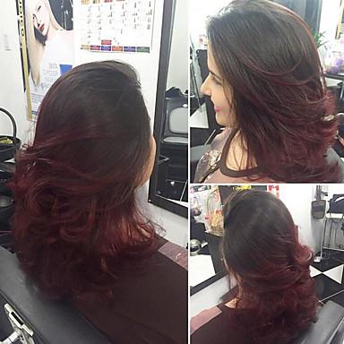 Synthetic Wig Wavy Style Bob Capless Wig Black Black Burgundy