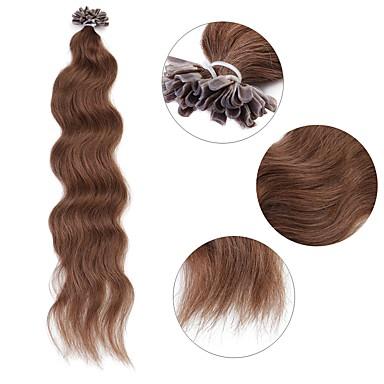 povoljno Ekstenzije za kosu-Ekstenzije s U vrhom Proširenja ljudske kose Kovrčav Ljudska kosa Ekstenzije od ljudske kose 1pack Žene Ash Brown