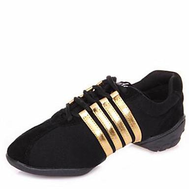 สำหรับผู้หญิง รองเท้าเต้นรำ ผ้าใบ โมเดอร์น รองเท้าผ้าใบ / ส้นแยก ส้นต่ำ ไม่ตัดเฉพาะ สีดำ / สีม่วง / แดง