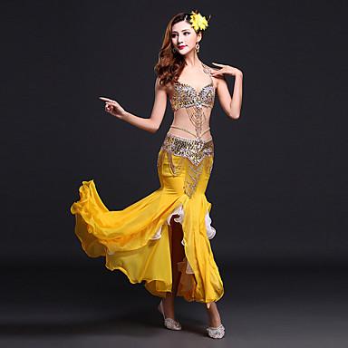 ชุดเต้นระบำหน้าท้อง Outfits สำหรับผู้หญิง Performance สแปนเด็กซ์ / เส้นใยโปรตีนจากนม เลื่อม / ผ่าหน้า เสื้อไม่มีแขน ธรรมชาติ กระโปรง / ชุดชั้นใน / เอวเข็มขัด