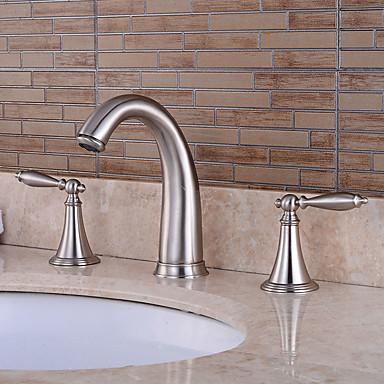 ก๊อกอ่างอาบน้ำ - Pre Rinse / น้ำตก / กระจาย Nickel Brushed อ่างและฝักบัว จับสองสามหลุมBath Taps