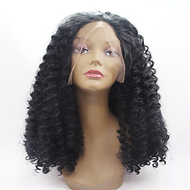 วิกผมสังเคราะห์ลูกไม้ด้านหน้า Kinky Curly หยิกหยักศก มีลูกไม้ด้านหน้า ผมปลอม ขนาดกลาง Black สังเคราะห์ สำหรับผู้หญิง เส้นผมธรรมชาติ ดำ