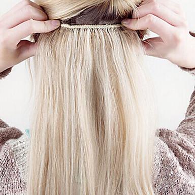 voordelige Extensions van echt haar-Clip-in Extensions van echt haar Klassiek Echt haar Extentions van mensenhaar Dames Blonde
