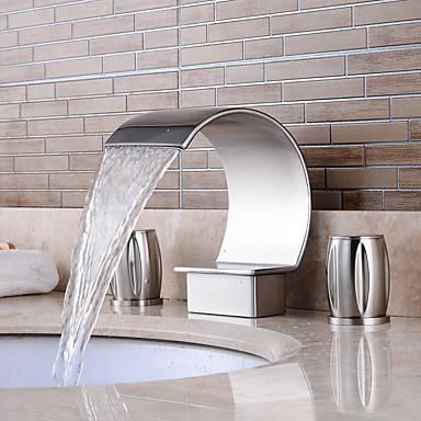 Kupaonica Sudoper pipa - Waterfall / Slavine s tri otvora Nickel Brushed Slavine s tri otvora Dvije ručke tri rupeBath Taps / Brass