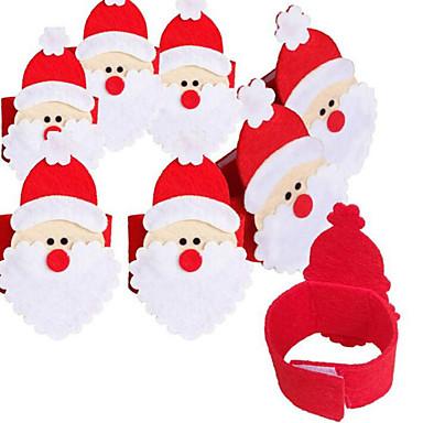 4pcs ชุดผ้าเช็ดปากผ้าไม่ทอ of Santa Claus แหวนผ้าเช็ดปาก