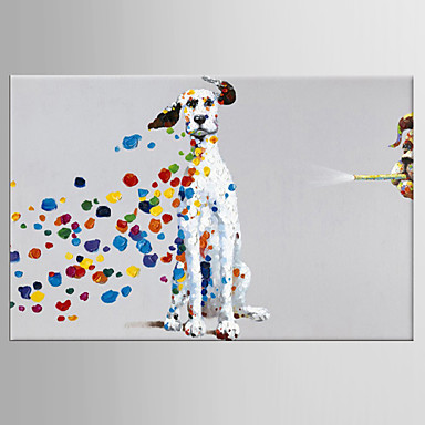 cheap Oil Paintings-Oil Painting Hand Painted - Pop Art Classic Modern Stretched Canvas