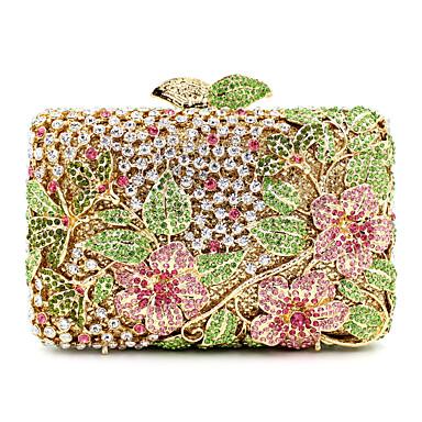 bolsos de mujer bolso de noche de metal cristal   rhinestone estampado  floral dorado   rhinestone bolso de noche de cristal   rhinestone bolso de  noche de ... 26ec52c28027