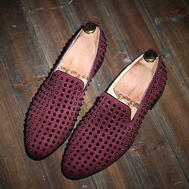 สำหรับผู้ชาย รองเท้าสบาย ๆ หนังสัตว์ ฤดูร้อน รองเท้าส้นเตี้ยทำมาจากหนังและรองเท้าสวมแบบไม่มีเชือก สีดำ / สีแดงเบอร์กันดี / ฟ้า / หมุดย้ำ