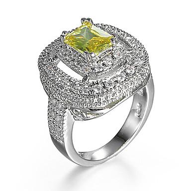 Χαμηλού Κόστους Μοδάτο Δαχτυλίδι-Γυναικεία Δαχτυλίδι Cubic Zirconia Κίτρινο Ζιρκονίτης Cubic Zirconia Κράμα Γάμου Αρραβώνας Κοσμήματα