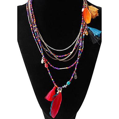 สำหรับผู้หญิง Turquoise สร้อยคอโซ่ Strands Necklace สร้อยคอยาว ลูกปัด พู่ ปอมปอม Feather สุภาพสตรี พู่ โบฮีเมียน โบโฮ เรซิน ขนนก โลหะผสม สีดำ ฟ้า หลากสี สร้อยคอ เครื่องประดับ สำหรับ