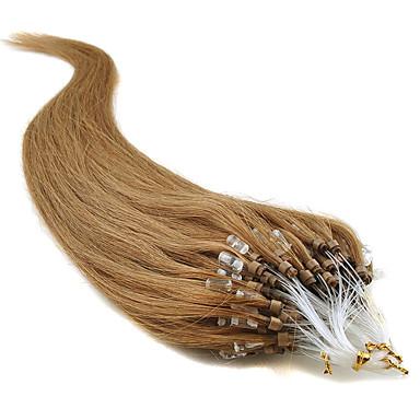 povoljno Ekstenzije za kosu-Febay Ekstenzije s mikro ringom Proširenja ljudske kose Ravan kroj Ljudska kosa Tamno Auburn
