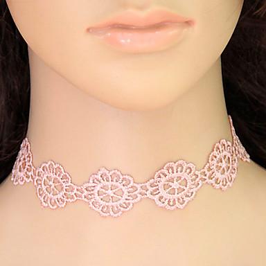 levne Dámské šperky-Dámské Obojkové náhrdelníky Límeček tetování obojek Květiny Kytky dámy Tetování Evropský Módní Krajka Růžová Náhrdelníky Šperky Pro Ležérní