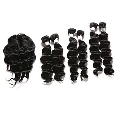 povoljno Ekstenzije od ljudske kose-6 Paketi s zatvaranjem Indijska kosa Duboko Val Ljudska kosa Kosa potke zatvaranje 12-16 inch Isprepliće ljudske kose Proširenja ljudske kose