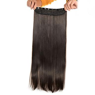 voordelige Synthetische extensions-5 clips lange rechte licht bruin (# 6) synthetisch haar clip in hair extensions voor dames