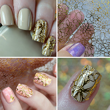 cheap Nail Care & Polish-1 sheet embossed 3d nail stickers blooming flower 3d nail art stickers decals