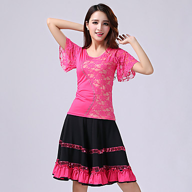 7c6b42bc9 Latin Dance Outfits Women s Performance Polyester Milk Fiber Lace ...