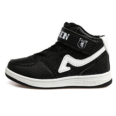 Boys' Shoes PU Spring Fall Slouch Boots Comfort Athletic Shoes Magic Tape Lace-up Casual Outdoor Black/White Red/White White/Blue