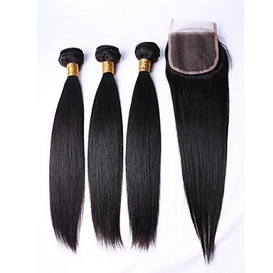 povoljno Ekstenzije od ljudske kose-3 paketa Brazilska kosa Ravan kroj Ljudska kosa Ljudske kose plete Isprepliće ljudske kose Proširenja ljudske kose / 8A