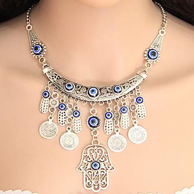 levne Dámské šperky-Dámské Náhrdelníky s přívěšky Prohlášení Náhrdelníky Třásně Mince dámy Střapec Evropský Módní Slitina Stříbrná Ruka osudu Náhrdelníky Šperky Pro Párty
