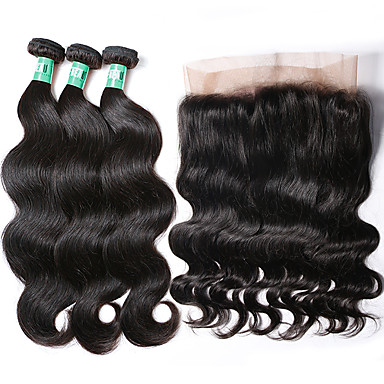 povoljno Ekstenzije od ljudske kose-3 paketi s zatvaranjem Brazilska kosa Tijelo Wave Virgin kosa Kosa potke zatvaranje 8-22 inch Isprepliće ljudske kose Proširenja ljudske kose