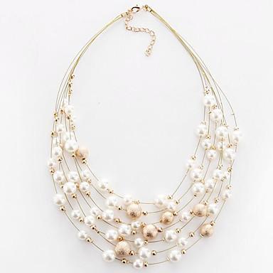 levne Dámské šperky-Dámské Obojkové náhrdelníky Vícevrstvé Plavání dámy Evropský Módní Vícevrstvé Perly Napodobenina perel Slitina Bílá Zlatá Náhrdelníky Šperky Pro Párty Denní Ležérní