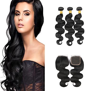 povoljno Ekstenzije od ljudske kose-3 paketa Indijska kosa Tijelo Wave Virgin kosa Ljudske kose plete 8-28 inch Isprepliće ljudske kose 7a Proširenja ljudske kose / 10A