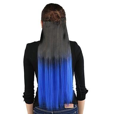 Syntetiska utsträckningar Rak Klassisk Syntetiskt hår Lång HÅRFÖRLÄNGNING Klämma in Dagligen
