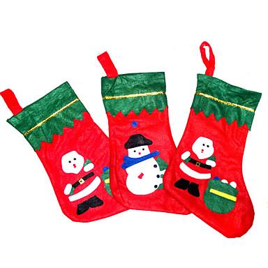 ตกแต่งวันคริสมาสต์ อุปกรณ์งานคริสต์มาส กระเป๋าของขวัญ Socks สิ่งทอ ผู้ใหญ่ Toy ของขวัญ 3 pcs