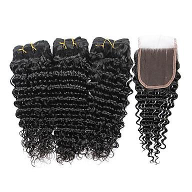 povoljno Ekstenzije od ljudske kose-3 paketi s zatvaranjem Indijska kosa Duboko Val Virgin kosa Ljudske kose plete Isprepliće ljudske kose Proširenja ljudske kose / 10A