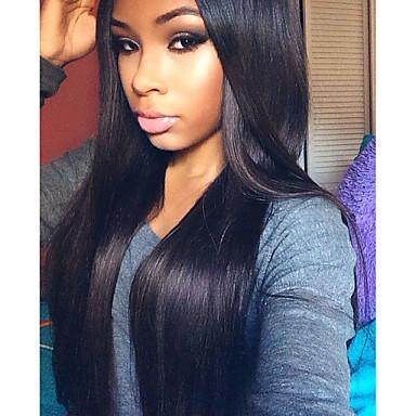 วิกผมจริง ลูกไม้หน้าไม่มีกาว มีลูกไม้ด้านหน้า วิก Kardashian สไตล์ Straight วิก 120% Hair Density เส้นผมธรรมชาติ วิกผมแอฟริกันอเมริกัน 100% มือผูก สำหรับผู้หญิง Short ขนาดกลาง ยาว วิกผมแท้ SunnyQueen