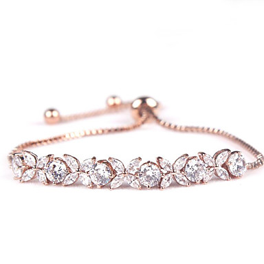 สำหรับผู้หญิง คริสตัล สร้อยข้อมือโซ่และเชื่อมโยง Flower แฟชั่น เกี่ยวกับเจ้าสาว เพทาย สร้อยข้อมือเครื่องประดับ ทอง / Rose Gold / ขาว สำหรับ งานแต่งงาน ทุกวัน / Cubic Zirconia / Cubic Zirconia