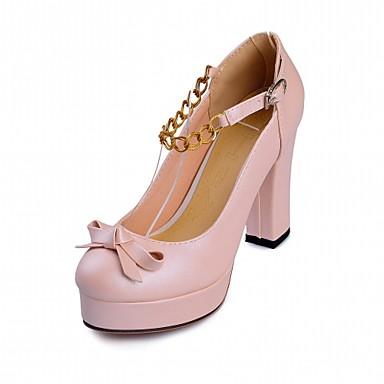 Mujer Zapatos Semicuero / PU Primavera / Verano Confort / Innovador Tacones Paseo Tacón Cuadrado Dedo redondo Pajarita Beige / Morado / bzmHXBLgCr