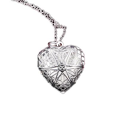 Dam Lockets Halsband Engraverad damer Mode Försilvrad Silver Halsband Smycken Till Party Dagligen