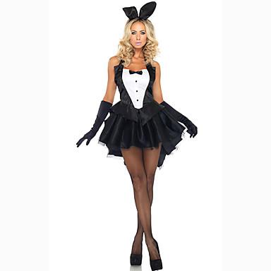 สำหรับผู้หญิง Bunny Girls Career Costumes เพศ คอสเพลย์และคอสตูม Party Costume สีพื้น ชุดเดรส ถุงมือ ฮารด์แวร์