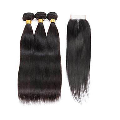 povoljno Ekstenzije od ljudske kose-3 paketi s zatvaranjem Indijska kosa Ravan kroj Virgin kosa Ljudske kose plete Kosa potke zatvaranje 8-28 inch Priroda Crna Isprepliće ljudske kose 7a Proširenja ljudske kose / 10A