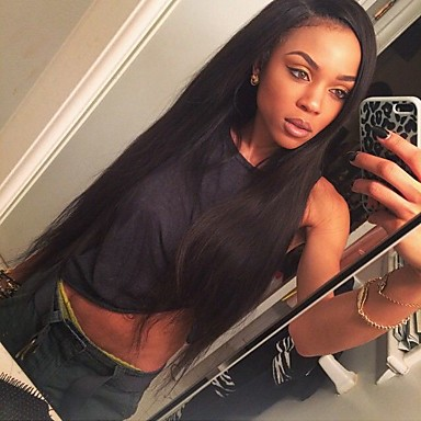 วิกผมจริง ลูกไม้หน้าไม่มีกาว มีลูกไม้ด้านหน้า วิก สไตล์ Straight วิก 120% Hair Density เส้นผมธรรมชาติ วิกผมแอฟริกันอเมริกัน 100% มือผูก สำหรับผู้หญิง Short ขนาดกลาง ยาว วิกผมแท้ SunnyQueen / ตรง