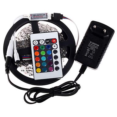 5ม. ชุดไฟ 300 ไฟ LED 3528 SMD RGB ควบคุมรีโมท / Cuttable / หรี่แสงได้ 100-240 V / เชื่อมต่อได้ / เหมาะสำหรับรถยนต์ / ติดเองได้ในตัว / เปลี่ยนสีได้ / IP44