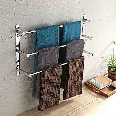 Stainless Steel Towel Bar Rail Rack Holder Suction Cup Shelf Wall Bathroom RS