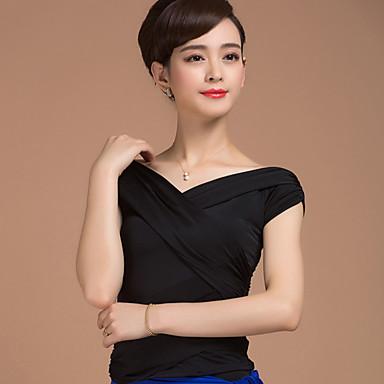 ชุดเต้นรำโมเดิร์น เสื้อ สำหรับผู้หญิง การฝึกอบรม ไหมสังเคราะห์ กากะบาท ครึ่งแขน ธรรมชาติ Top