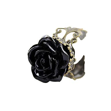 levne Dámské šperky-Dámské Vyzvánění Pryskyřice Černá Akrylát Pryskyřice Slitina dámy Open Denní Šperky Růže Kytky Nastavitelný