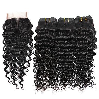 povoljno Ekstenzije od ljudske kose-3 paketi s zatvaranjem Brazilska kosa Duboko Val Virgin kosa Ljudske kose plete Isprepliće ljudske kose Proširenja ljudske kose / 10A