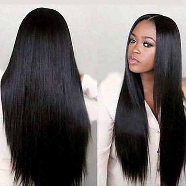 Obehandlad hår Hel-spets Peruk Minaj stil Brasilianskt hår Rak Yaki Peruk 130% 150% Hårtäthet med babyhår Afro-amerikansk peruk Till färgade kvinnor Pre-Knäpp Blekt knutar Dam Äkta peruker med hätta