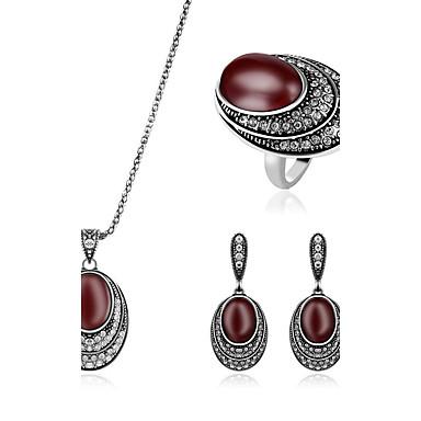 levne Dámské šperky-Dámské Synthetic Ruby Sady šperků Sada kroužků Stohovatelné Luxus Umělé diamanty Náušnice Šperky Tmavě červená Pro Svatební Párty Denní / Prstýnky